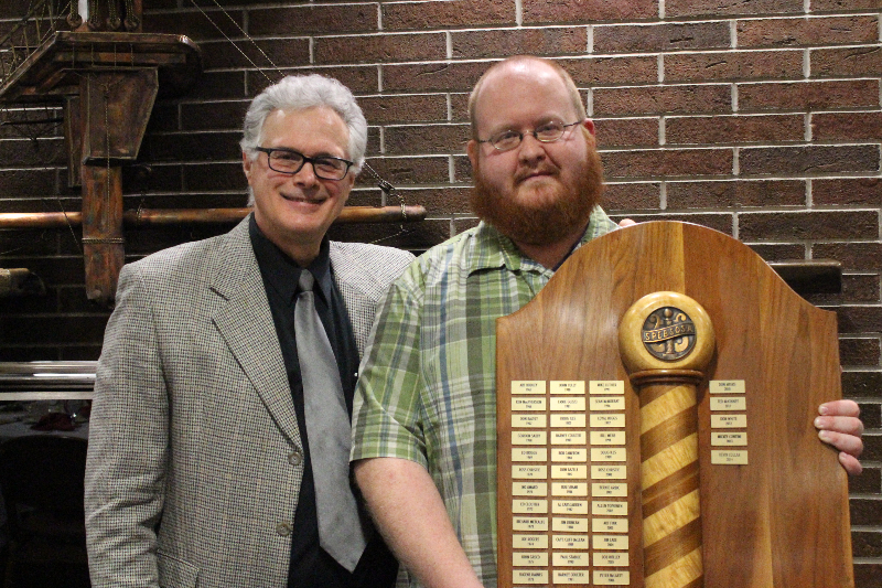2015 Ladies Night 13 -  Barbershopper of the Year Kevin Collar with Prez Folgo - Feb. 14-2015.jpg